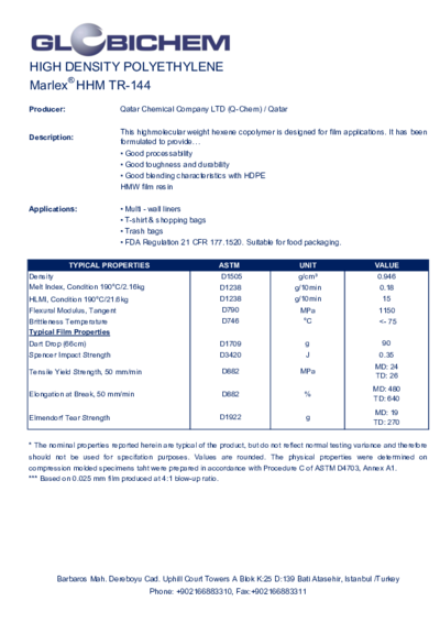 Polyethylene Grades and Specification